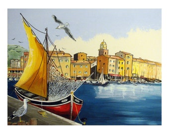 SAINT TROPEZ  Port, Mediterranean Sailboat Seagull, Village south France, Original illustration Artist Print Wall Art, Free Shipping in USA