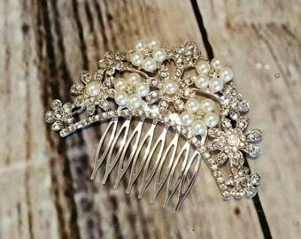 Wedding Hair Comb,bridal hair comb,rhinestone bridal hair comb,pearl wedding hair comb,flower girl hair comb,military ball,pageant wear