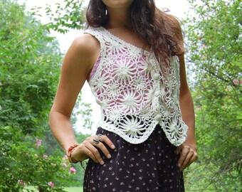 Vintage Boho Hippie Crochet Vest Festival Vest White Cream