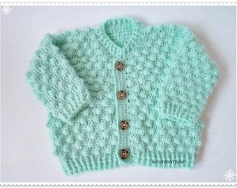 Crochet Baby cardigan, Baby cardigan,  Green Baby Sweater, Newborn, Crochet Baby, Crochet Baby Clothing, Baby Boy, Baby Girl, Kids Bolero
