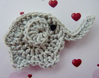 Elephant - crochet applique