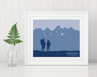 Adventure Gift for Couple, Wedding Gift Mountain, Couple Adventure Awaits, Hiking Art Print, Engagement Gift Mountain, Mountain Anniversary