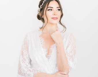 White Lace Bridal Robe - Lace Wedding Robe - Lined Robe - Bridal Lingerie - Gift for Bride - Wedding Gift