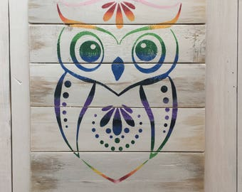 Rustic Owl Hand Painted Sign on Reclaimed Wood