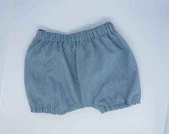 Baby bloomers -Baby chambray bloomers -Baby shorts-Denim shorts -Baby 0-3 months bloomers