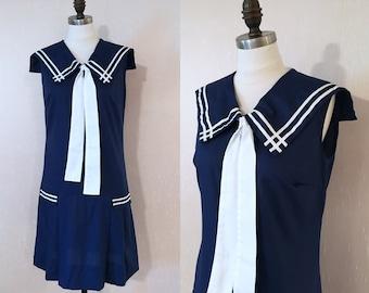 Vintage 1960s Navy Blue Sailor Nautical Summer Dress S/M