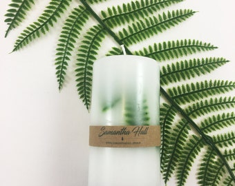 Pillar Candle - Trapped Leaves - Unscented - Natural - Fern - Forest - Scandinavian candle