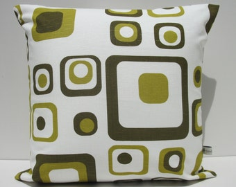 Retro print cushion cover, olive green, 100% cotton, to fit an 18x18 inch (45x45 cm) cushion pad.
