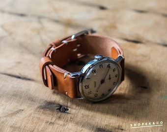 18mm heavy duty vintage watch strap #4 with your initials