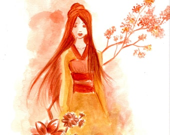 Autumn Breeze Print, Print, Asian Style Art, Asian Inspired Art, Asian Style Art, Autumn Inspired Art, Orange Floral Art,Orange Floral Print