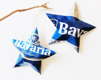 Bavaria Holland Beer Stars, Christmas Ornaments, Aluminum Can Upcycled, Recycled Aluminum Stars