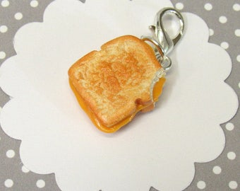 Grilled Cheese Charm, Food Charm, Food Jewelry, Stitch Marker, Miniature Food, Cheese Charm, Planner Accessory, Polymer Clay Charm
