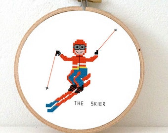 2 x Skier cross stitch pattern. Winter cross stitch pattern. DIY Ski decor. Ski art. Ski sign. Ski teacher diy gift. Winter sport