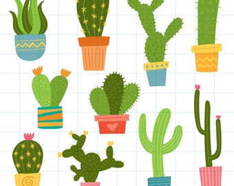 Cactus in pots clipart - Hand drawn instant download PNG graphics - 0009