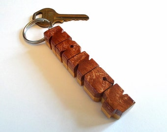 "Name Keychain, Standard Size, Sapele ""Pommele"" and Pau Amarello Woods, Carved to Order"