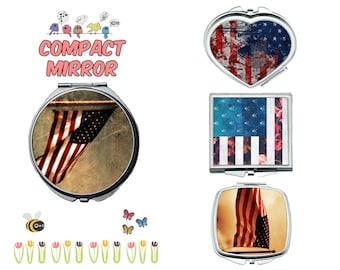 America flag compact mirror, makeup mirror, cosmetic mirror, portable mirror, double sided compact makeup mirror, purse mirror