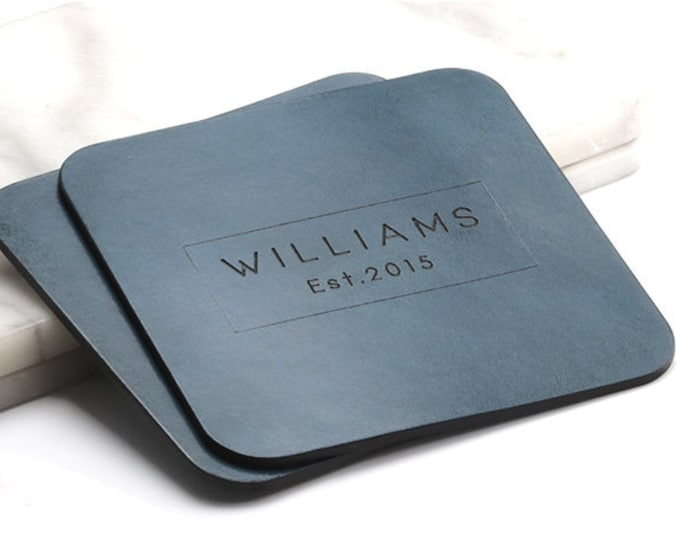 Desk Coasters, Drink Coasters, Leather Coasters, Blue Coasters, Coasters Gift, Office Coasters, Modern Coasters, Engraved Coasters