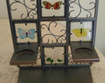 Glass and Metal Butterfly candle holder, Butterfly Tealight Easel by Partylite, three candle holder