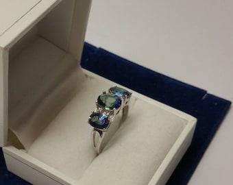 18 mm Ring Silver 925 crystals blue/green SR1094