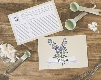 Personalized Bluebonnet Recipe Card