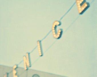 large wall art, Venice Beach sign, mint blue green, gold, bokeh, California home decor, Los Angeles photography, abstract, LA photo