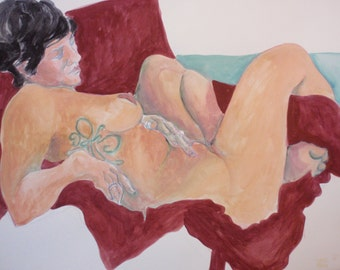 "Fine Art, Painting, Watercolor:  ""Nude on Maroon"" Female Nude with Lovely Tatoo"
