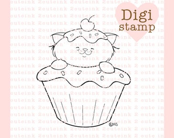 Cupcake Kitty Digital Stamp for Card Making, Paper Crafts, Scrapbooking, Hand Embroidery, Invitations, Stickers, Cookie Decorating