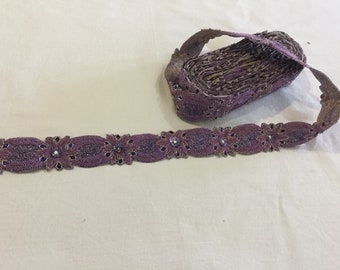 Purple hand embroidered Trim Metal Thread