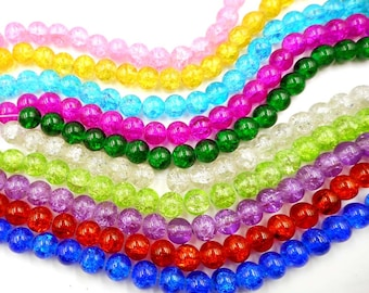 40 Crackle Glass Beads - 10mm - 31-5