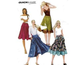Big Pocket Skirt Pattern Knee or Calf Length Flared Skirt Contrast Band Skirt McCalls 5812 Waist 23 24 25 26 28 Sewing Pattern