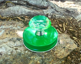 Green mason jar lid with green knob