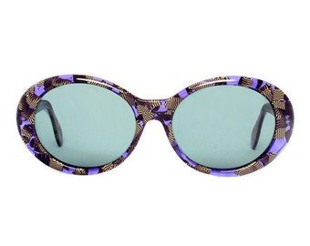 vintage purple sunglasses - oval sun glasses for women with pattern - 80s sunglasses - girl zafiro