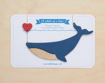 Blue whale necklace & heart, Whale pendant, Animal necklace, Sea life, Whale jewelry, Gift for sea lover, Ocean necklace, Cute whale charm
