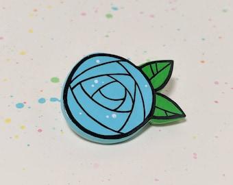Blue Rose Flower Pin - Handmade Miniature Clay Brooch Jewelry