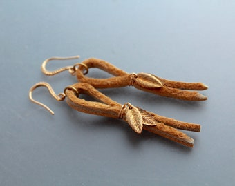 Memories from summer - Alaska Native moose hide leather earrings