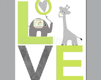 Green and grey love nursery wall art, Nursery Art Print, 8x10,Kids Room Decor, Baby / Children Wall Art - giraffe and elephant