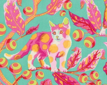 Disco kitty in Strawberry Fields from the Tabby Road fabric collection by Tula Pink for Free Spirit fabrics