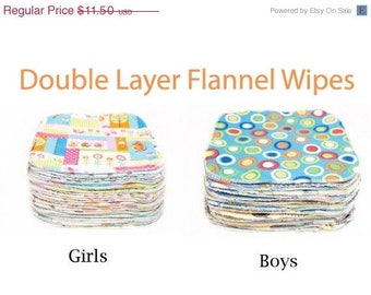 Spring Sale Sweet Bobbins Cloth Wipes Set of 80  wipes -  Double Layer Flannel - 8x8