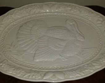 Vintage Thanksgiving/Holiday Ceramic Turkey Platter Japan 1970s D282