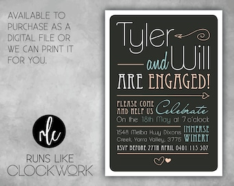 Engagement, Invitations, Party, Printed or Digital File Available, Modern Elegance