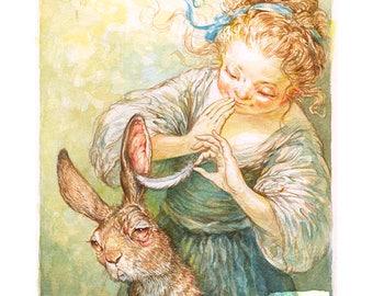 Teasing Her Hare (print)- rabbit, bunny, hair care, pets, puns