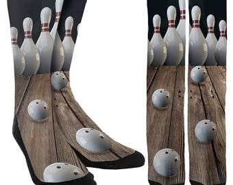 Bowling Pin Crew Socks - Bowling Socks - Bowling Ball Socks - Bowling Pin Socks-Unique Socks-Novelty Socks -100% Comfort - FREE Shipping A79