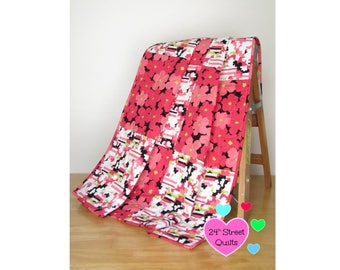 Baby Quilt, Baby Blanket, Crib Quilt | Red & Black Floral