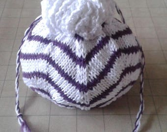 White and purple pouch