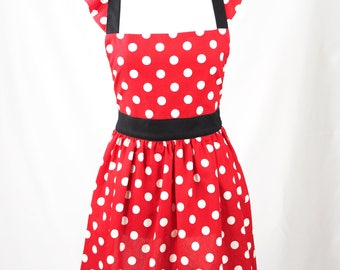 Red and White Polka Dot Minnie Apron