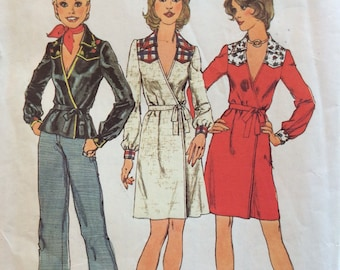 Simplicity 6502 misses wrap dress or top size 12 bust 34 vintage 1970's sewing pattern