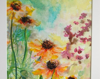 Flower Painting, OOAK, Flower Picture, Watercolour Painting, Floral Painting, 'Summer Rudbeckia'