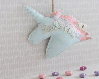 Unicorn decoration- pastel colours, glitter fabric, Child's bedroom decor, fairytale, sparkly unicorn, personalised