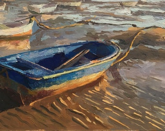 A Boat in Cadiz, Boat Original Oil Painting, Seascape, Spain Harbour, Handmade artwork, One of a kind