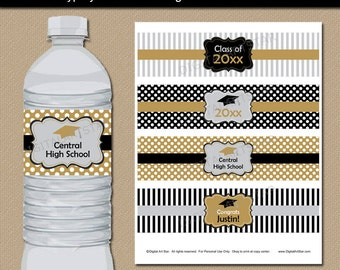Black Gold Silver Graduation Water Bottle Labels, Printable Party Decorations, Editable College Graduation Water Labels Instant Download G4